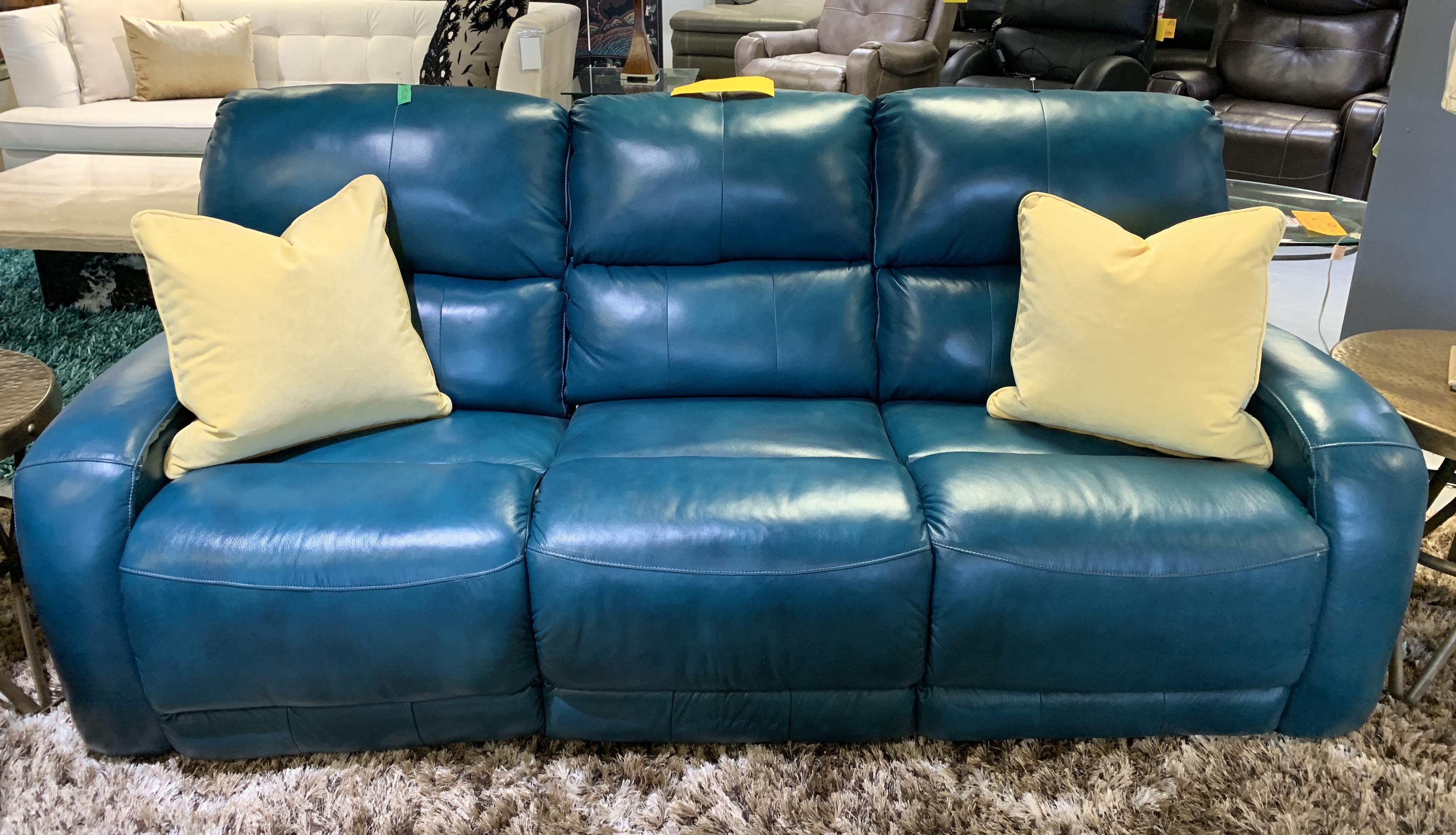 - Turquoise 100% Leather Reclining Sofa – Blum's Fine Furniture